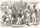 MILITARIA: How Bengalese are converted into Sepoys, antique print, 1857
